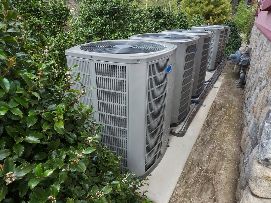 Air conditioning and heating units for a residential house